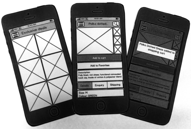 Mobile app paper prototypes that were used to Rapid Usability test the concept